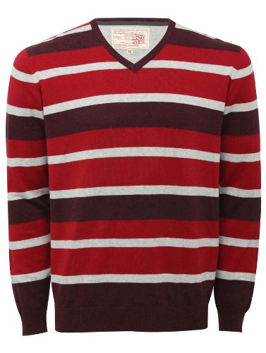 Mens V Neck Stripe Long Sleeve Jumper Red L