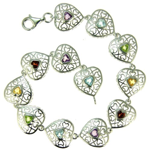 Silver Ladies' Filigree Heart Multi Coloured