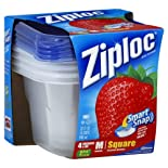 Ziploc Smart Snap Containers & Lids, Square, Medium, 4 Cups
