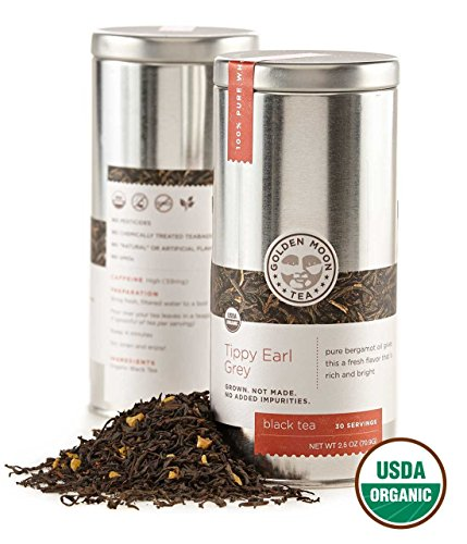 Golden Moon Tea - Tippy Earl Grey Tea - Organic - Loose Leaf - Non GMO - 2.5oz Tin - 30 Servings