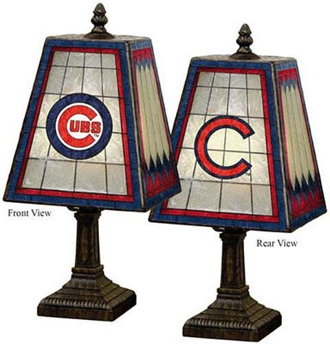 "Sports Team Stained Art Glass Window Panel Accent Lamp - 14.5""Hx7.5""Sqr, Red front-192810"