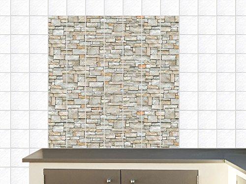 fliesensticker aufkleber fliesenbild f r k che steinmauer mauer steinoptik fliesengr e15x15cm. Black Bedroom Furniture Sets. Home Design Ideas