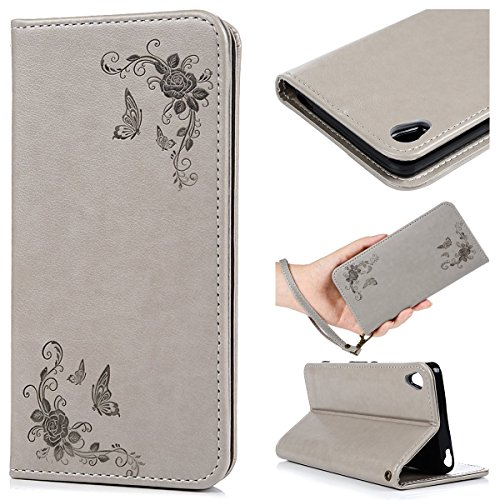 SmartLegend élégance Etui Cuir Coque pour Sony Xperia XA Rose Flying Butterfly Relief Motif Wrist Strap Wallet Fonction Stand Flip Case Pochette