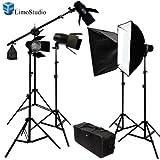 LimoStudio Photography Studio Continuous Lighting Kit 2450W Barndoor Lights and Photo Video Studio Overhead Boom Stand Light kit, AGG684