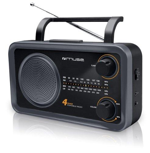 Muse M-05DS MW/FM Radio (connessione cuffie, AUX-IN, antenna), colore: Nero