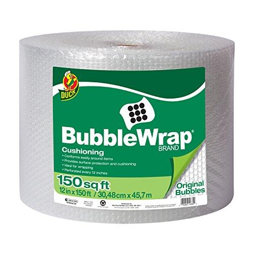 Duck Brand Bubble Wrap Original Cushioning, 12-Inches x 150-Feet, Single Roll (284054)