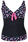 Yoursclothing Plus Size Womens Floral Print A Line Tankini Top