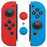 Joy Con Grips (1 Pair / 4pcs), Fosmon Anti-Slip Silicone Joy Con Gel Guards Skin Cover L/R with Thumb Stick Caps for Nintendo Switch Joy Con Controller (Red/Blue)