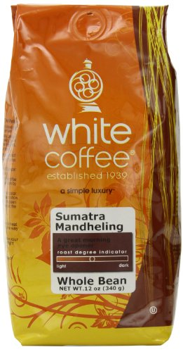 White Coffee Sumatra Mandheling Whole Bean 12-Ounce Bags Pack of 3B001D1YLD2