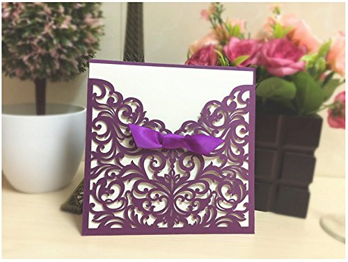 Graces Dawn® 50pcs Laser-cut Lace Flower Pattern Wedding Invitations Cards(set of 50pcs) and Blank Cards and Envelopes 6 x 6