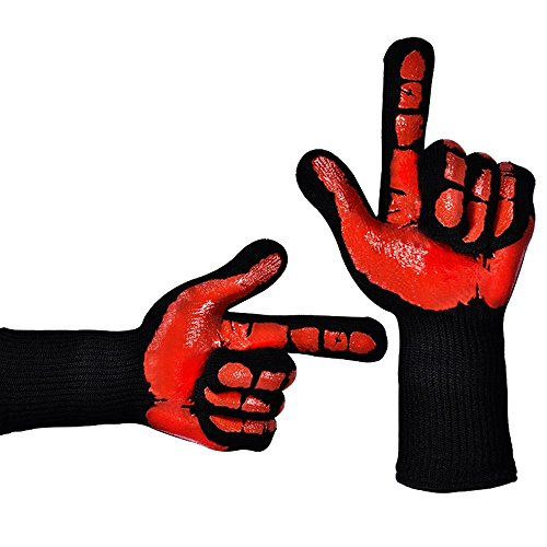 4YANG BBQ Grilling Cooking gloves - Heat Guardian Heat Resistant Gloves - Withstand Heat Up To 932℉ (Little Joe Smoker compare prices)