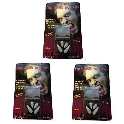 ヴァンパイア ドラキュラ 吸血鬼 牙 上下 白 ホワイト 4本セット コスプレ 衣装 ハロウィン クリスマス パーティー にも 仮装 グッズ (3個 クロス 付き)