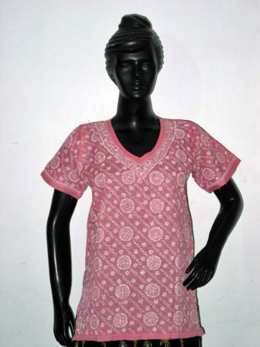 Christmas Sale Hot Pink Tunic Yoga Cotton Kurti Clothing of India Casual Top Chikan Embroidery Size M