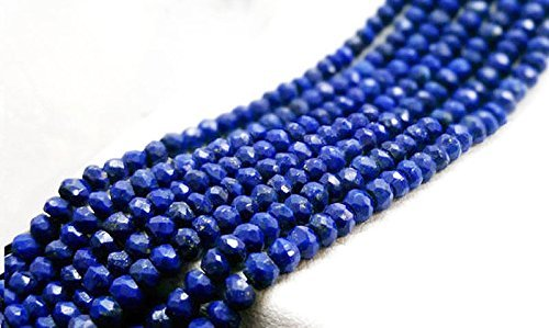 1 STRAND NATURAL LAPIZ LAZULI GEMSTONE FACETED RONDELLE LOOSE BEADS 3-4MM 13.5-14 LONG by Empress Design