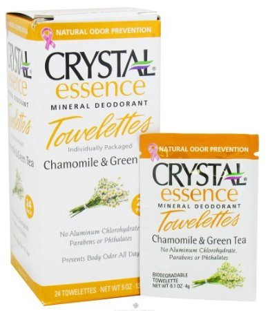 Crystal Essence Mineral Deodorant Towelettes Chamomile And Green Tea - 24 Towelettes