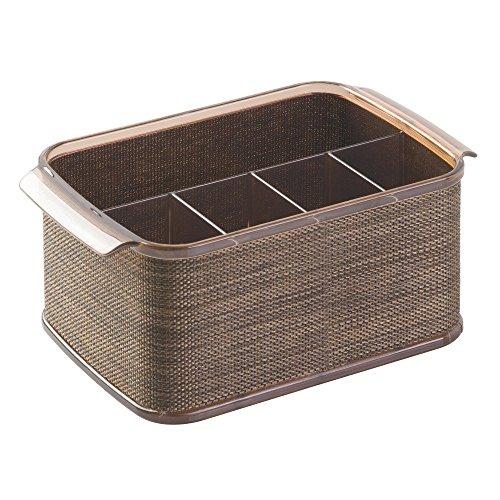 InterDesign Twillo Silverware, Flatware Caddy Organizer for Kitchen Countertop Storage, Dining Table - Bronze/Sand (Countertop Silverware Caddy compare prices)