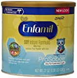 Enfamil Prosobee Soy Infant Formula Powder with Iron, 22 Ounce (Pack of 4) (Packaging May Vary)