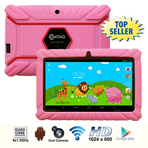 * Memorial Day Special * Contixo 7 Inch Quad Core Android 4.4 Kids Tablet, HD Display 1024x600, 1GB RAM, 8GB Storage, Dual Cameras, Wi-Fi, Kids Place App & Google Play Store Pre-installed, 2015 May Edition, Kid-Proof Case (Pink)