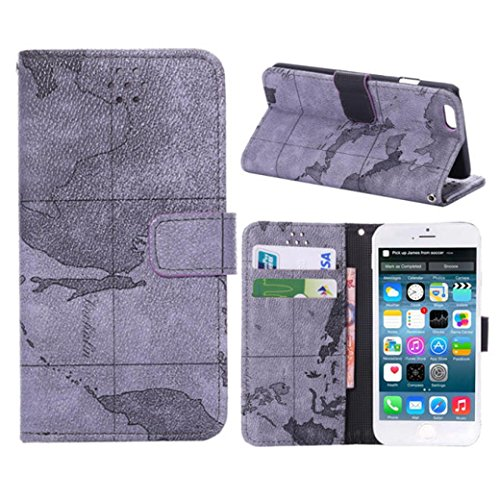 Iphone 6 5.5 Phone Case Borch Fashion Multi-Function Wallet For Iphone 6 Case Luxury Lychee Leather World Map Pu Leather Protective Carrying Case Cover With Credit Id Card Slots/ Money Pockets Flip Leather Case For Iphone 6 5.5 Inch Borch Screen Protector