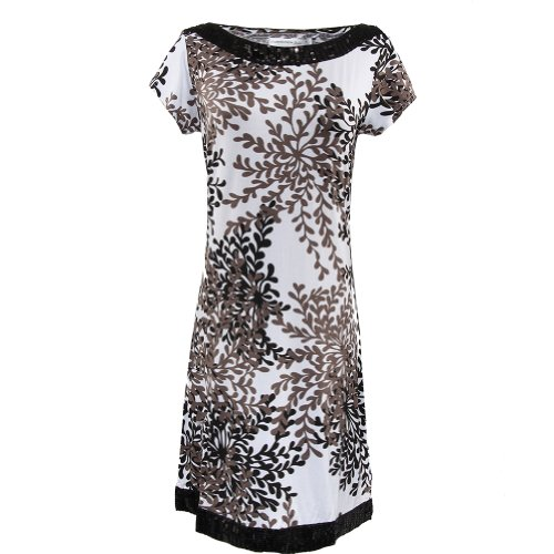 Gamiss Women's Charming Crew Neck Sequined Neck and Hem Leaf Print Form-fitting Mini Dress, White,Regular Sizing 6 (White Form Fitting Dress compare prices)