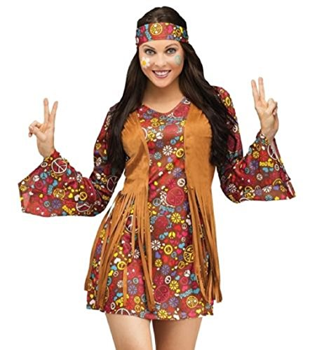 Hippie Fancy Dress Women's Costume Adult Outfit Size 8