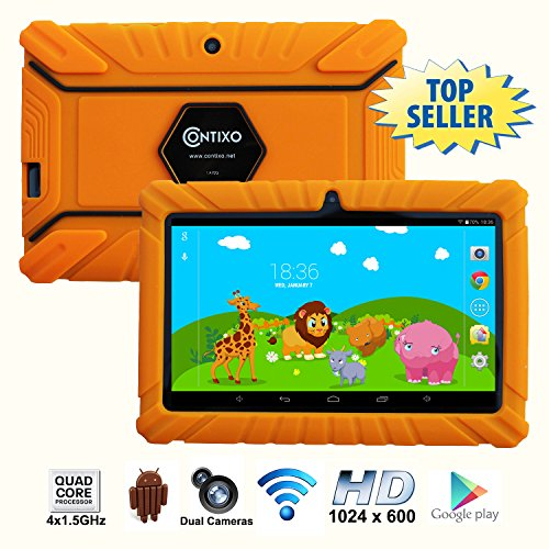 * Memorial Day Special * Contixo 7 Inch Quad Core Android 4.4 Kids Tablet, HD Display 1024x600, 1GB RAM, 8GB Storage, Dual Cameras, Wi-Fi, Kids Place App & Google Play Store Pre-installed, 2015 May Edition, Kid-Proof Case (Orange)