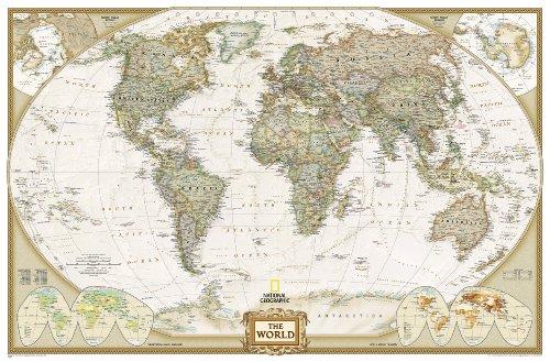**World Political Executive Antique186 Cm X 125 Cm: Enlarged Executive Line (World Maps)