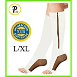 Presadee 20-30 mmHg Zipper Compression White Gold Copper Infused Calf Leg Veins Traveling Energy Support Socks (L/XL)