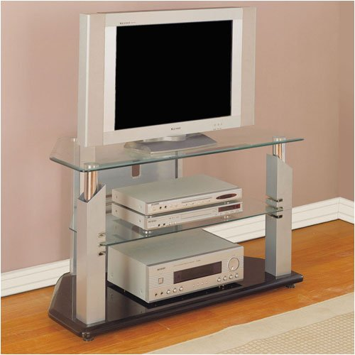 Cheap Glossy Silver/Chrome TV Stand (POWL938-954)