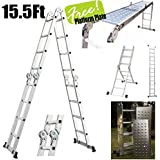 XtremepowerUS 15.5' Platform Multi-Purpose Folding Aluminum Ladder