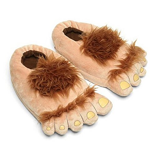 A AURA Adults Warm Hobbit Feet Furry Monster Adventure Slippers Comfortable Indoor Shoes (Coffee)