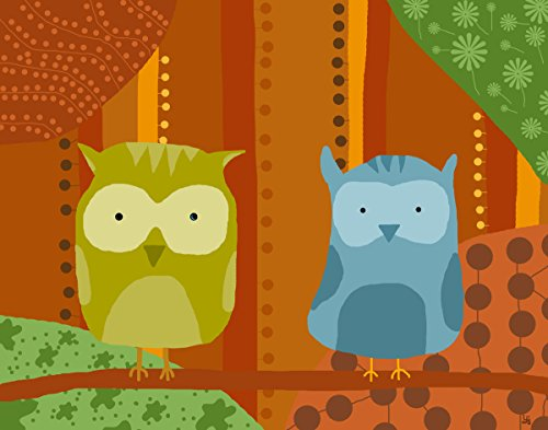Green Leaf Art Owls with Patterns 1 Canvas Art