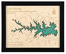 Moen Lake (With Second, Third, Fourth and Fifth Lakes) in Oneida, WI - 2D Map (Black Frame/No Glass Front) 11 x 14 IN - Laser carved wood nautical chart and topographic depth map.