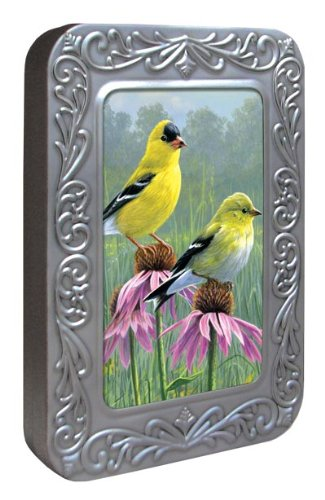 Tree-Free Greetings Noteables Notecards In Reusable Embossed Tin, 12 Card Assortment, Recycled, 4 x 6 Inches, Goldfinch and Coneflowers, Multi Color (76027)