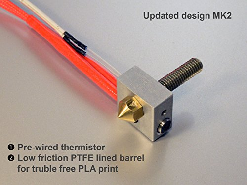 Metal DIY Hot End for RepRap 3D Printer 1.75mm Filament, 0.4mm Nozzle, 12V 40W Heater, NTC 3950 Thermistor Hotend