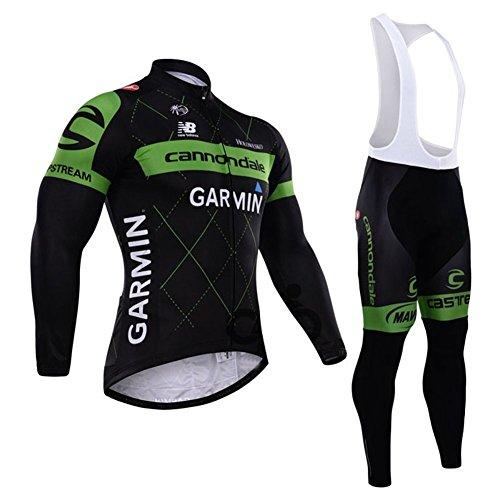 Set termico invernale da ciclismo per uomo, con salopette aderente e giacca a manica lunga