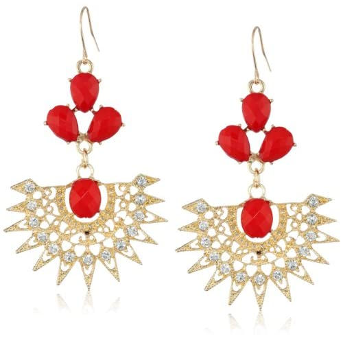 Filigree Fan Red Earrings