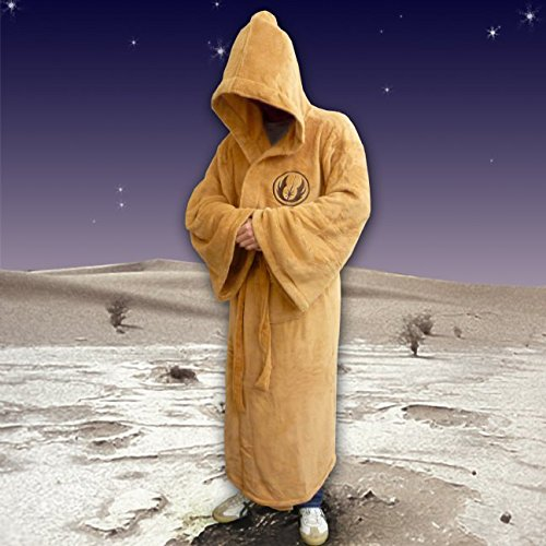 (Large) Star Wars Mens Fleece Dressing Gown-Jedi