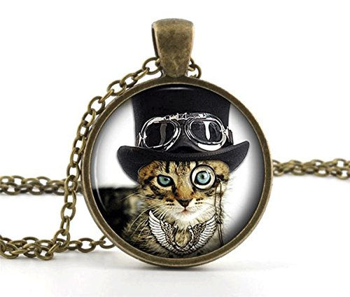 Cool-Cat-Picture-Pendant-Necklace-Steampunk-Funny-Glass-Kitten-Kitty-Jewellery