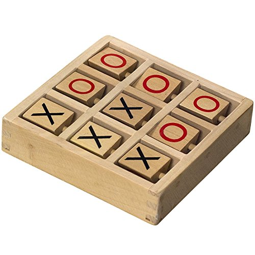 Tic-Tac-Toe Wooden Travel Board Game With Fixed Pieces (Tic Tac Toe Game compare prices)