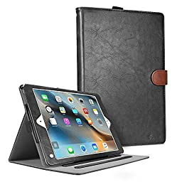 iPad Pro Case, Cambond Slim Fit Auto Sleep / Wake Flip Case Cover with Card Slots and Stylus Holder, Protective Premium PU Leather for Apple iPad Pro 9.7 Inch Release on 2016 (Black)