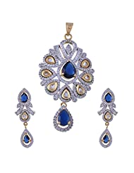 Nimbark Traders Brass And Metal White & Blue Color Designer Pendent Set With Earrings For Women - B00RFRHD1U