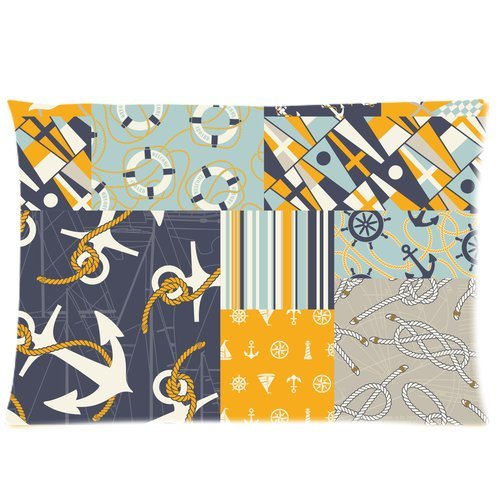 Navy Style Anchor Rudder Ring Buoy Elements Collection Custom Zippered Bed Pillow Cases 20X30 (Twin Sides)