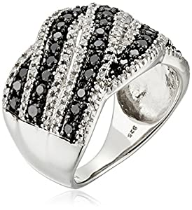 Sterling Silver with White and Black Diamond Fashion Ring (1 cttw, I-J Color, I2-I3 Clarity), Size 8