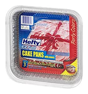 Amazon Com Hefty Ez Foil Cake Pans With Covers 8 X 8 3