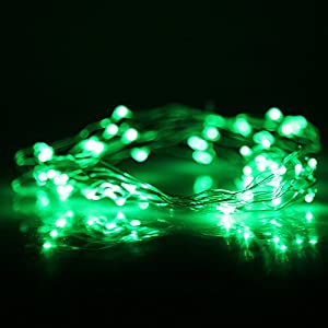 (9 Different Colors) DBPOWER LED Led String Lights Copper Wire LED Starry Light for Outdoor Indoor decoration, Gardens, Christmas, Homes, Wedding and Party (5M 50LED, Green) from DBPOWER
