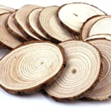 """Goodlucky365 50pcs 2""""-2.5"""" Unfinished Natural Blank Wood Slices Circles with Tree Bark Log Discs for DIY Craft Woodburning Christmas Rustic Wedding Ornaments"""
