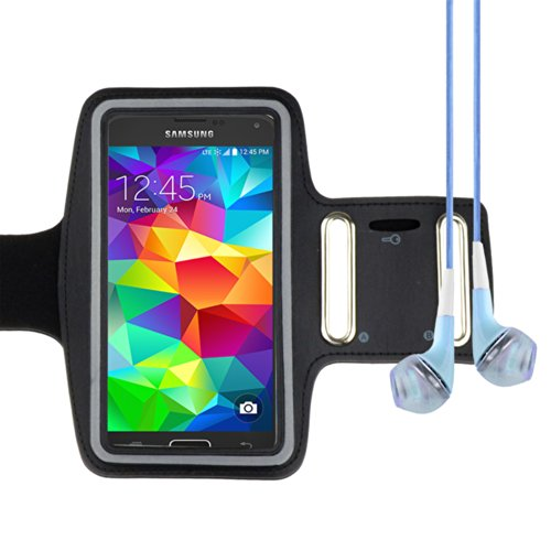 Sports Armband Case For Samsung Galaxy S5 Note 3 Note 2 (At&T, T-Mobile, Sprint, Verizon) (Black) + Vangoddy Headphone With Mic , Blue