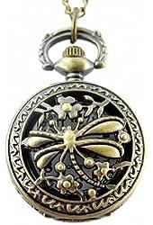 Youyoupifa Unique Retro Design Bronze Dragonfly Openwork Cover Pocket Quartz Watch NBW0PA7102-CO3