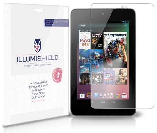 Illumishield - Google Nexus 7 Screen Protector Japanese Ultra Clear Hd Film With Anti-Bubble And Anti-Fingerprint - High Quality (Invisible) Lcd Shield - Lifetime Replacement Warranty - [3-Pack] Oem / Retail Packaging